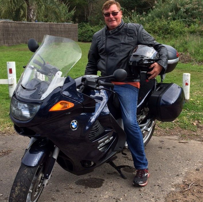 Don with his partner, BMW motorbike