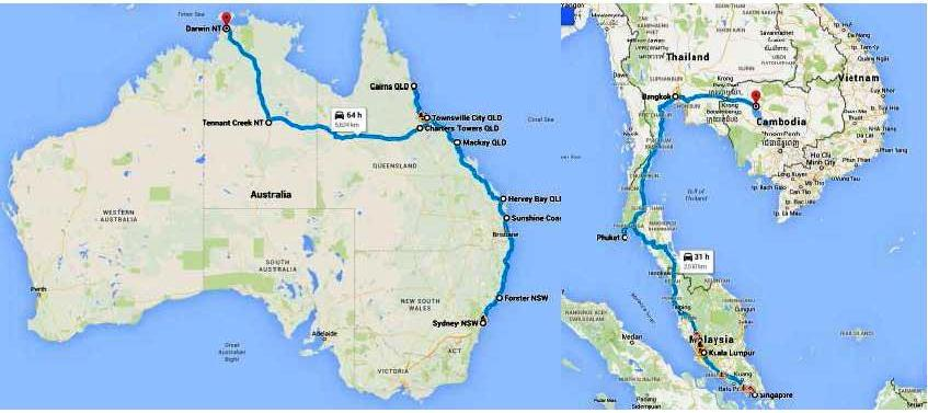 Don's Charity ride Sydney to Siem Reap route map